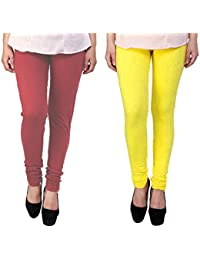 Snoogg Womens Ethnic Chic Inspired Churidar Leggings In Yellow And Maroon