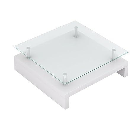 Anself Mesa Cuadrada de Cristal de Café Blanco