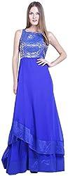 D&S Women's Layered Dress (Dark Blue & Gold, M)