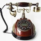 白樺製電話機 ミズメ製 高級感あふれるアンティーク電話機 インテリアにも最適! プッシュホン式 Wood Telephone amnyj204-fgdh014