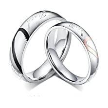 """buy Daesar Womens Wedding Rings Stainless Steel Heart Puzzle Wedding Bands"""" Love"""" Engraved Silver Size 9"""