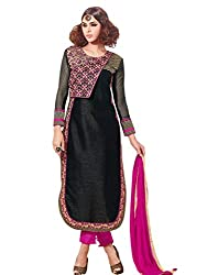 Craftliva Latest Heavy Embroidered Designer Black Straight Suits