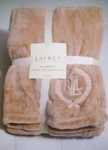 Throw Blanket Ralph Lauren Classic Luxurious Soft Micromink 50 X 70 Linen / Tan front-411232