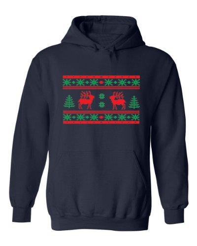 Festive Threads Ugly Christmas Sweater Design (Buck) Adult Hooded Sweatshirt (Navy Blue, 3-Xl)