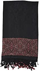 Sahiba Fashions Women's Stole (Black and Red)