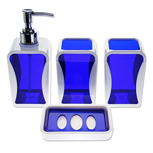 Justnile contemporary 4 piece bathroom accessory set for Blue bath accessories set