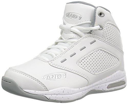 AND 1 Kids' Typhoon AU Skate Shoe, White/Limestone/Silver, 4.5 M US Big Kid