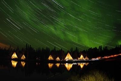 Yellowknife Wall Decals Aurora And Star Trails - 24 Inches X 16 Inches - Peel And Stick Removable Graphic