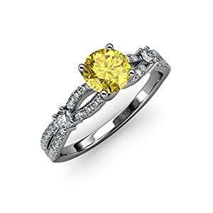 Yellow Sapphire and Diamond Split Shank Engagement Ring 1.40 ct tw in 14K White Gold.size 6