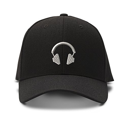 Headphone Embroidery Embroidered Adjustable Hat Baseball Cap Black