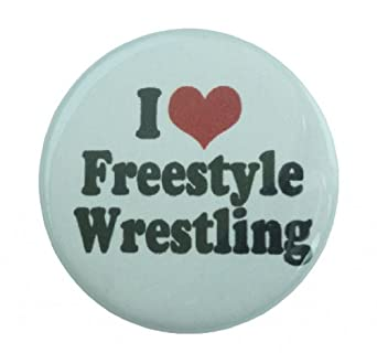 Amazon.com: A&T Designs Unisex - I Love Freestyle Wrestling 1.25 ...