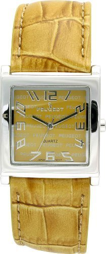 Peugeot Women'S Square Silver-Tone Case Yellow Dial Strap Watch 312GO