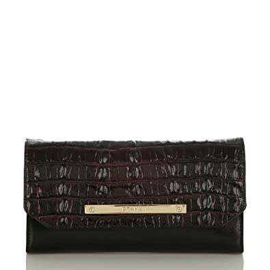 Brahmin Soft Checkbook Wallet Clutch Black Tuscan Luxe