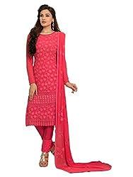 Isha Enterprise Women's Chiffon Dress Material(KFD400-1758_Peach)