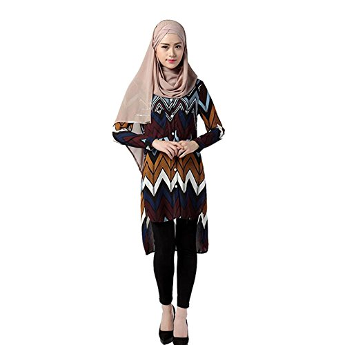 Zhuhaixmy Musulmano Loose Camicia Donne Casual Vestito Abaya Turkish Camicette Robe Gown