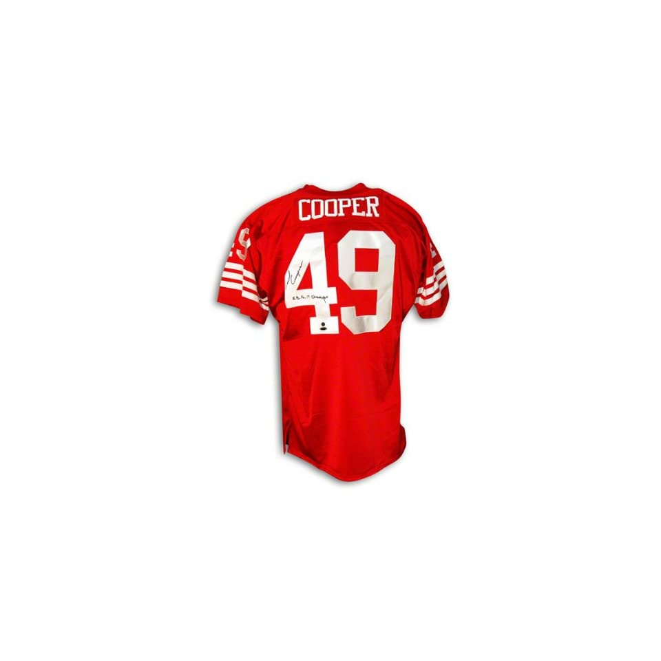 Earl Cooper Autographed San Francisco 49ers Throwback Jersey Inscribed SB 16,19 Champs