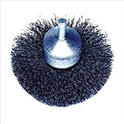Weiler Steel Cup Brush - Shank Attachment - 3 in Dia - 0.006 in Bristle Dia & 16000 Max RPM - 10150 [PRICE is per BRUSH]