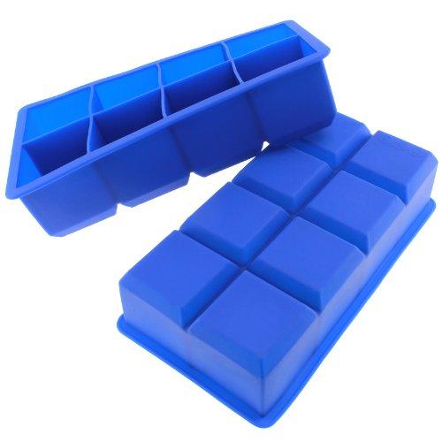 Freshware Fi-112Pk 8-Cavity Jumbo Cube Silicone Ice Tray, 2-Inch, Blue, Set Of 2