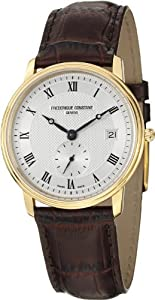 Frederique Constant Slim Line Silver Dial Brown Leather Mens Watch 245M4S5 by Frederique Constant