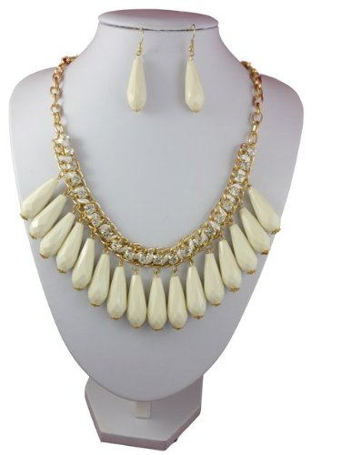 Hanging Beads with Clear Zircon Detailing and Drop Earrings Set