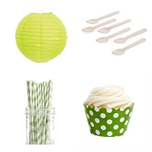 Dress My Cupcake DMC432567 Dessert Table Party Kit with Lanterns and Mini Wrappers, Kiwi Green Polka Dots