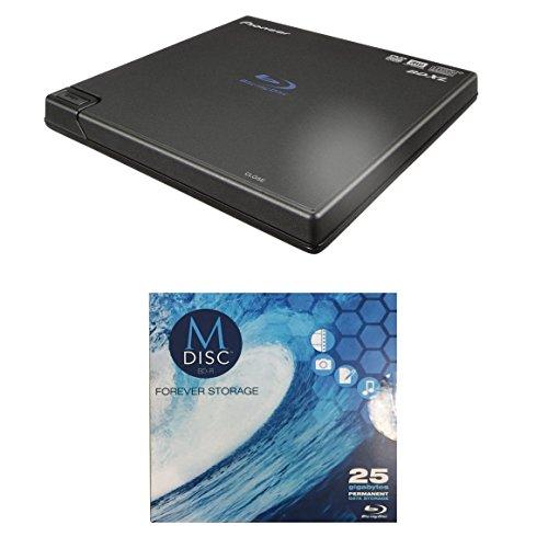 Pioneer 6x BDR-XD05 Portable USB 3.0 Blu-ray Burner Bundle with 1 Pack M-DISC BD - Supports BDXL, BD, DVD, and CD Media (Black, Retail Box)