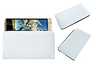 Acm Rich Leather Soft Case For Iball Andi Avonte 5 Mobile Handpouch Cover Carry White