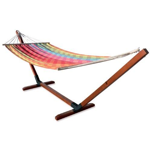 Gartenmöbel aus Holz Hängematte mit Baumwolltuch 160 x 220 günstig