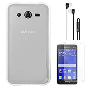 DMG Ultra Thin Flexible TPU Extra Protection and Grip Back Cover Case For Samsung Galaxy Core 2 G355H (Clear) + Black Earphones + Matte Screen