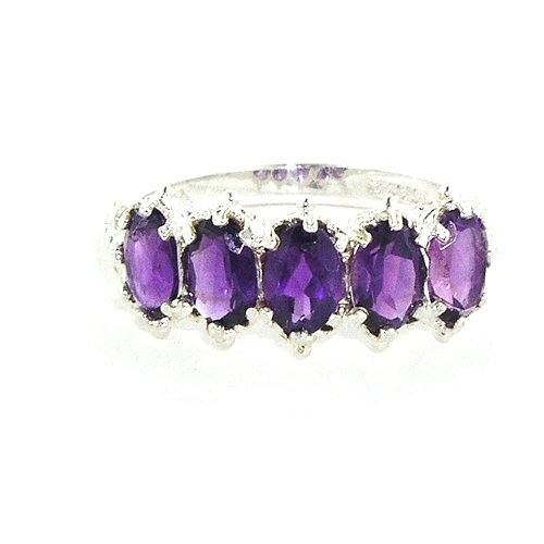 Sterling Silver Ladies 5 Stone Amethyst Ring - Size L - Finger Sizes L to Z Available