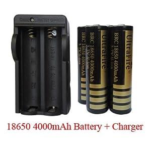 4pcs Ultrafire 18650 4000 mAh 3.7V Li-ion Rechargeable Battery + 1pcs charger Combo