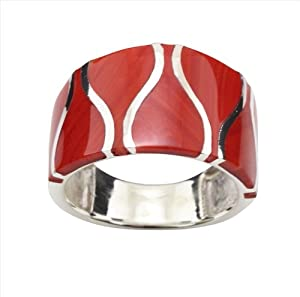 Red Coral & 925 Sterling Silver Ring by DTP