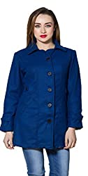 nAzAqAt women fine woolen long coat base colour solid royal blue