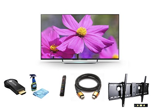 "Sony Kdl55W800B 55-Inch 1080P 120Hz 3D Smart Led Tv + Google Chromecast Hdmi Streaming Media Player + 3M High Speed Orange Gold Hdmi Cable For 2160P, 3D, And 4K + Focus 32""-70"" Tv Bracket Mount With 165 Lbs Capacity + Monster Surge Protector With 7 Ac Out"