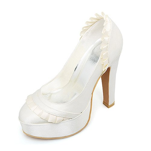 Women's Top Quality Satin Upper High Heel Closed-toes With Lace Wedding Shoes/ Bridal Shoes (Size:5 B(M) US/Ivory