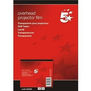 5 Etoiles ETL-333255 333255 Boîte de 100 transparents antistatiques pour Imprimantes laser PVC Incolore