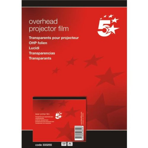 5 Star(TM) - Papel para impresoras láser DIN A4 0,10 mm 100 unidades , color  transparente