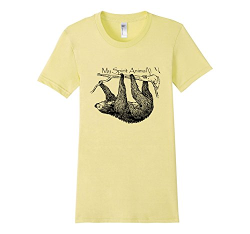 Women's My Spirit Animal Cute & Funny Sloth T-Shirt XL Lemon