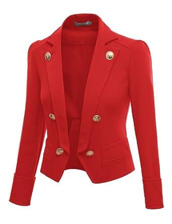 Doublju Womens 3/4 Sleeve Short Crop Blzer Jacket