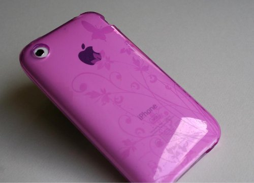 iPhone シリコンカバー紫蝶と花模様