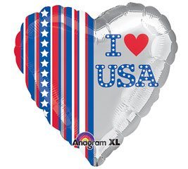 "Mayflower Distributing - I Love USA Heart Shaped Foil Balloon, 18"" - 1"