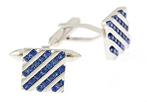 18K White Gold Square Cufflinks Set with Sapphire with Presentation Box
