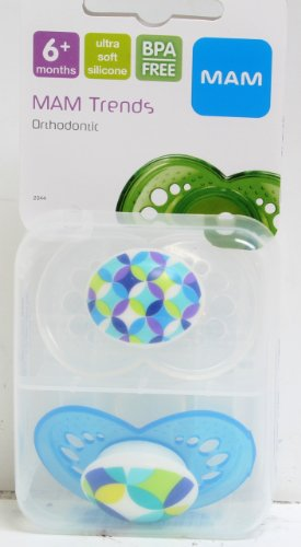 Mam 2 Pack Trends Silicone Pacifier, 6 Months (As Pictured - Blue) front-840969