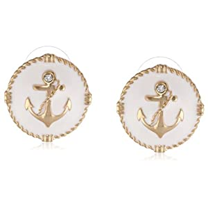 Gold-Tone and White Epoxy Anchor Button Earrings