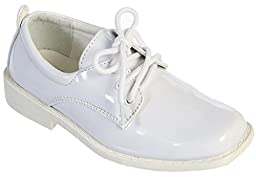 iGirlDress White Patent Dress Oxford Shoes (8 M US Toddler, White)
