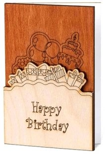 Real Wood Handmade Happy Birthday Card with Presents Cake Balloons Outside and Flowers Inside Unique Original