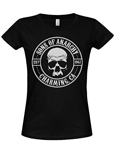 of Sons Anarchy Seal Girly T-shirt nera nero Large