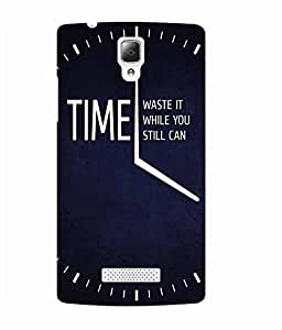 Make My Print Time Slogan Printed Navy Blue Soft Back Cover For Lenovo A2010