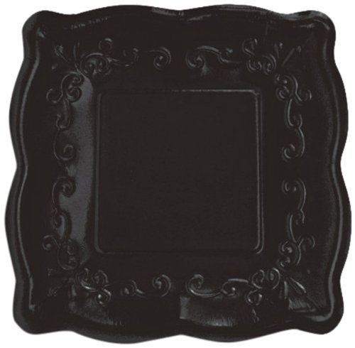 "Elise Scalloped Embossed 10"" Square Premium Paper Banquet Plates, 8-Count, Licorice - 1"
