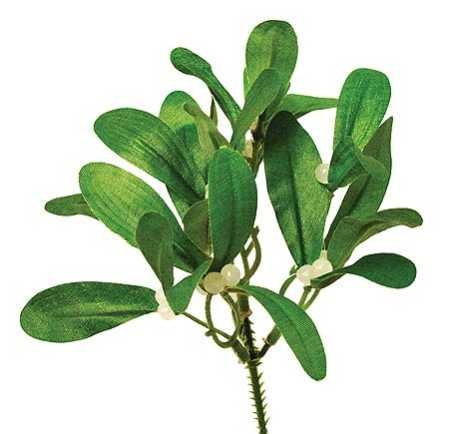 Package of 12 Artificial Silk Mistletoe Accent Picks for Christmas Holiday Flower Arrangements, Wreaths and Holiday Decorations